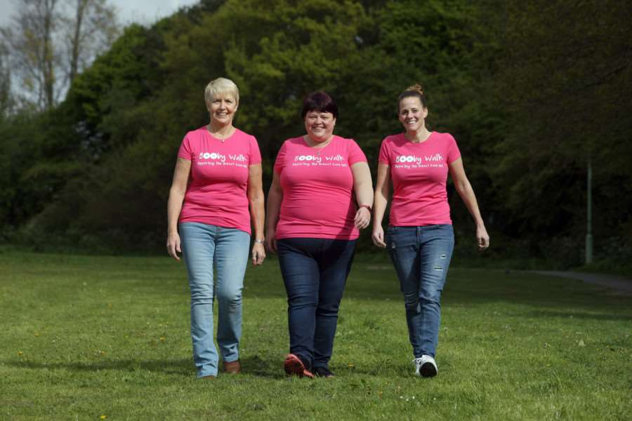 Margaret Barker, Lorraine Smith and Kate Miles preparing for the 'Booby Walk'. 'Picture: Phil Morley