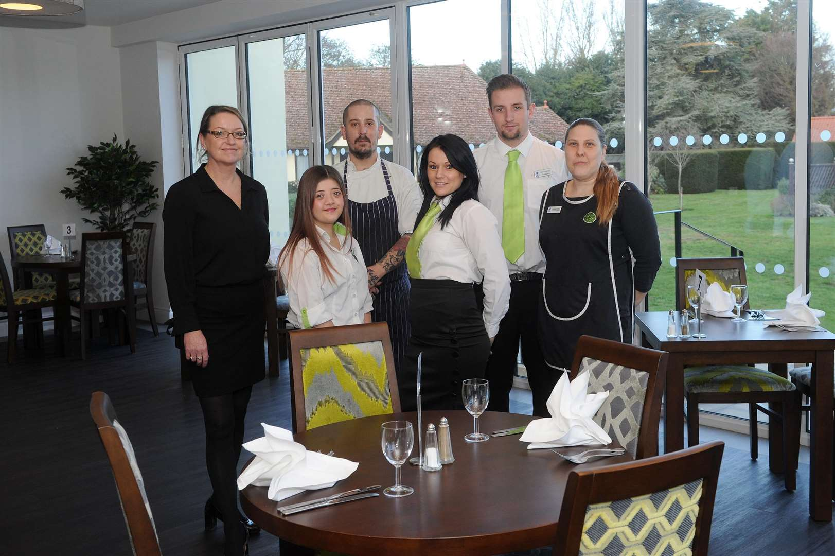The Priory Hotel has opened an extension which houses a new bar, lounge and the garden restaurant...Pictured: Julie Campbell, Jade Callis, Carl Grimwood, Tracey Zdrenka, Russell Gibbons and Stephanie Hales...PICTURE: Mecha Morton... (6715109)