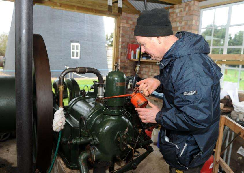 Thelnetham windmill open day''Pictured: Volunteer John Ambler with a 1944 Ruston Hornsby size 4 HR Diesel engine'''PICTURE: Mecha Morton