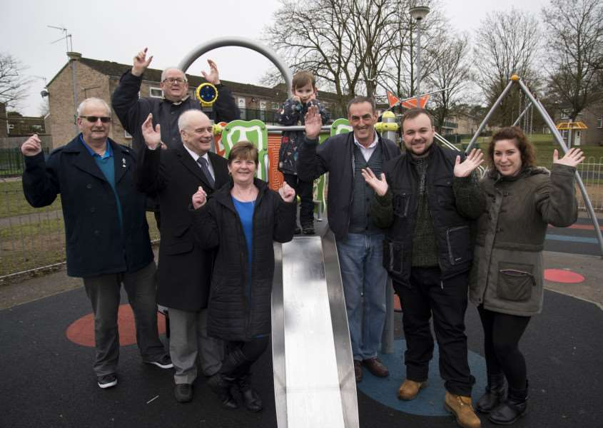 Celebrations at the new play area on Thetford's Redcastle estate