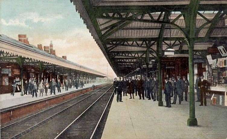 The glory days: Newmarket's 'new' station in 1905 with its double track