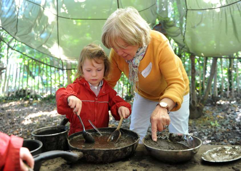 South Lee Early Years and Pre Prep invited Grandparents to join them for lunch and to ' stay and play' for breaktime - to celebrate Grandparents day.''Pictured: Jane Nesham with grandchild Imogen Donald (3) making a mud pie ANL-160310-163631009