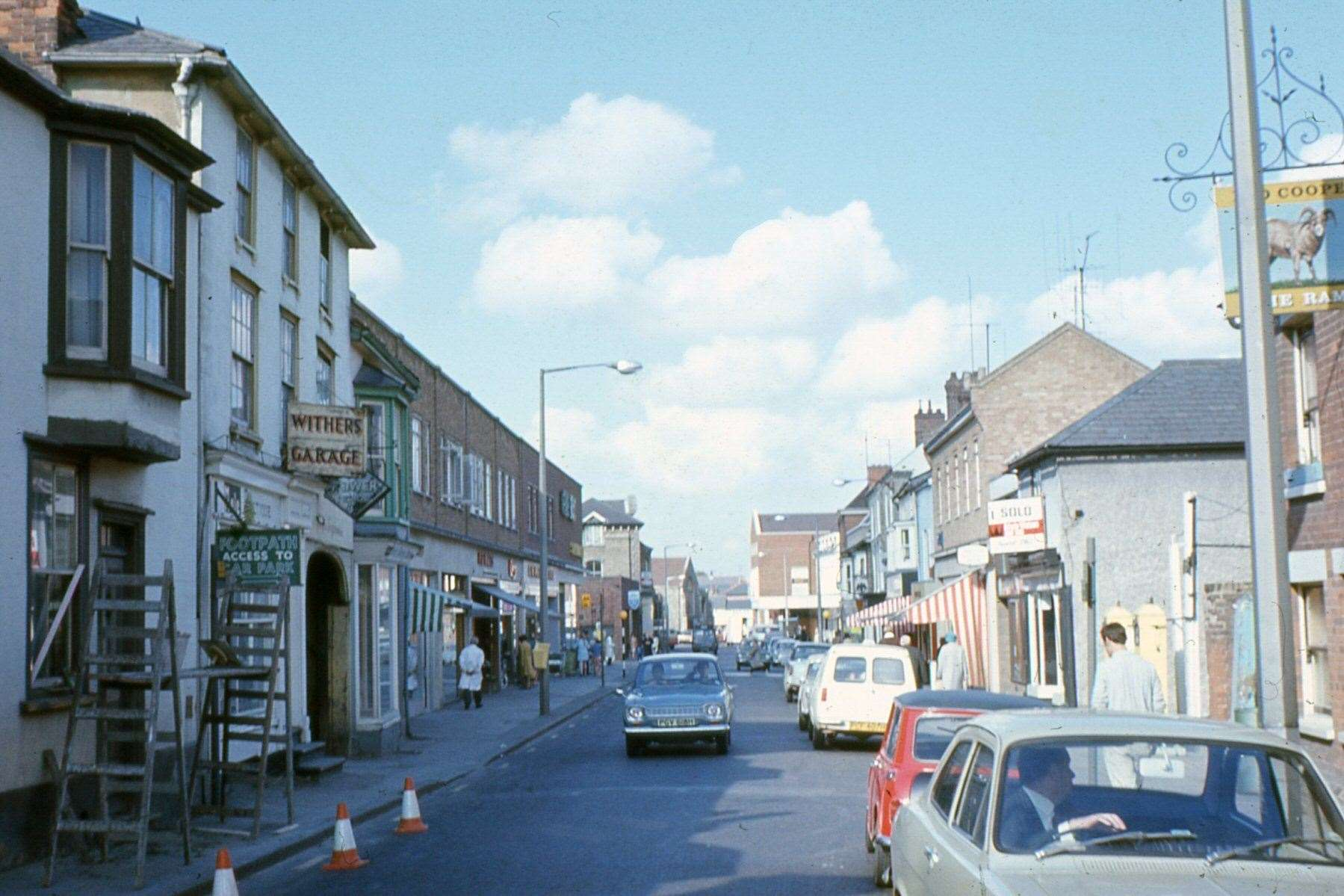Haverhill High Street 1970s with two-way traffic. Picture: Haverhill and District Local History Group