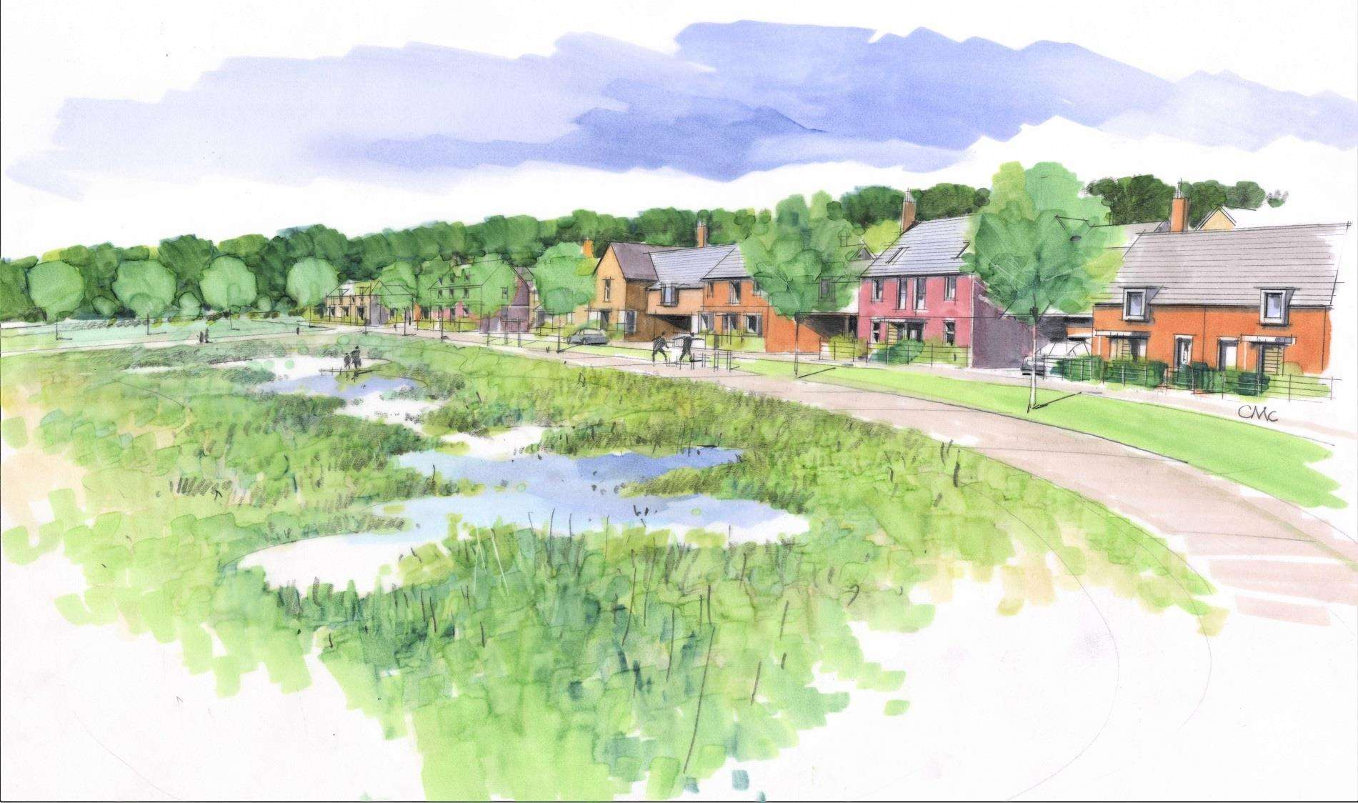 Artist's impression of the proposed Weavers Green housing development in Boxford. Image supplied by Catesby Estates. (6869743)
