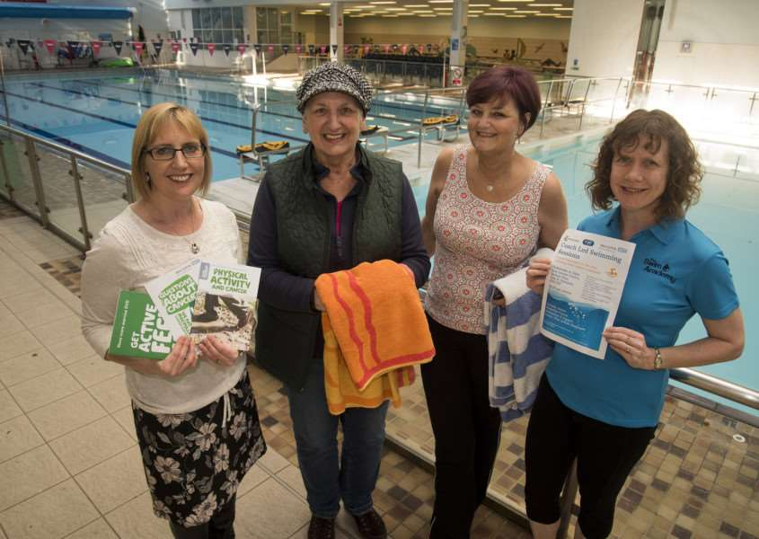 Nicky McKee, Macmillan Cancer Care; Sarah-Jane Taylor, swimming instructor, with swimmers Angela Coster left and Lynne Pritchard