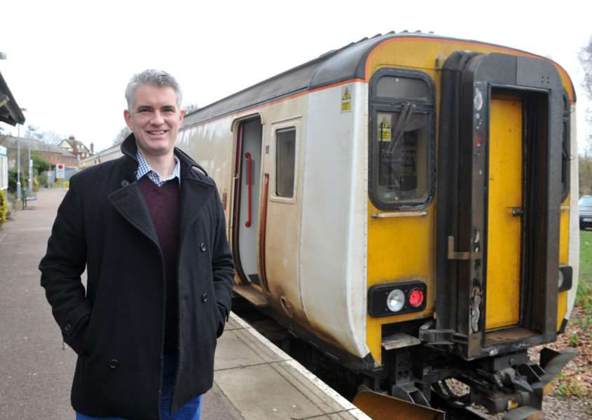 South Suffolk MP James Cartlidge at Sudbury train station ANL-150127-152938009