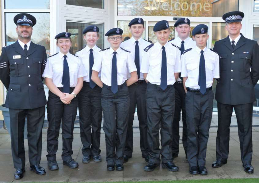 Volunteer police cadets with Sergeant Davy Hill and on the right Inspector Mark Shipton
