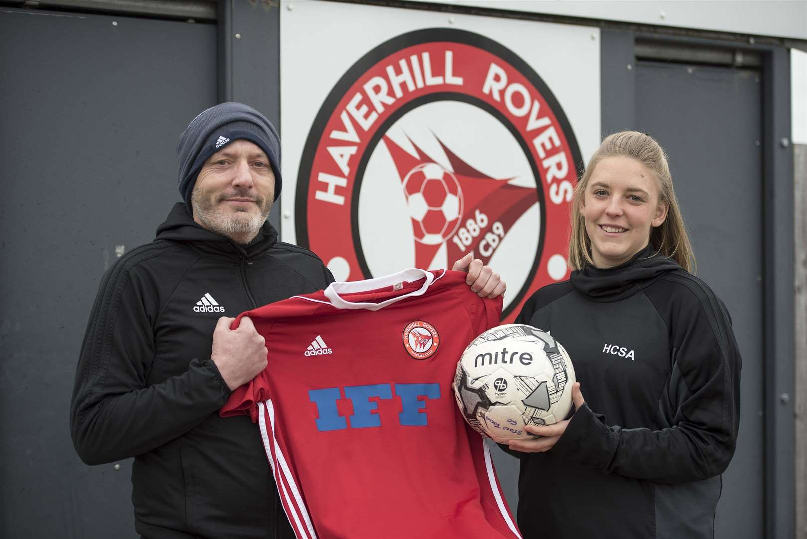 Haverhill Darryl Tate and Kayleigh Steed, the manager and assistant of the Haverhill Rovers Ladies team (Picture: Mark Westley)