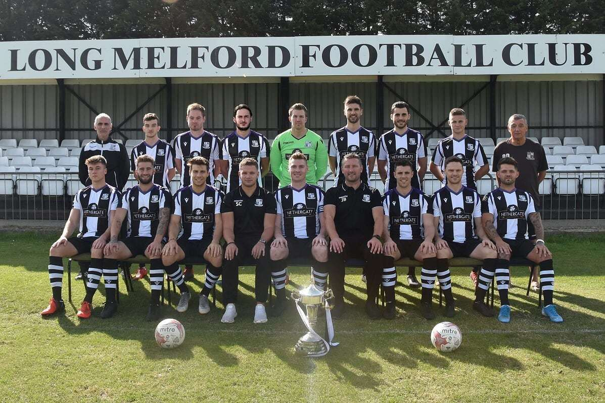 Long Melford 2019/20 team picture ahead of hosting Wrxoham, featuing manager Jamie Bradbury and debutant goalkeeper Matt Walker (18216528)
