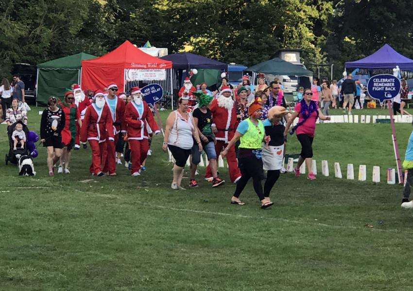The Christmas themed lap at Relay for Life, at Nowton Park, in Bury St Edmunds.