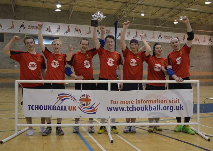 CHAMPIONSHIP DELIGHT: Bury Kings players celebrate their victory in the Tchoukball UK Super Cup final
