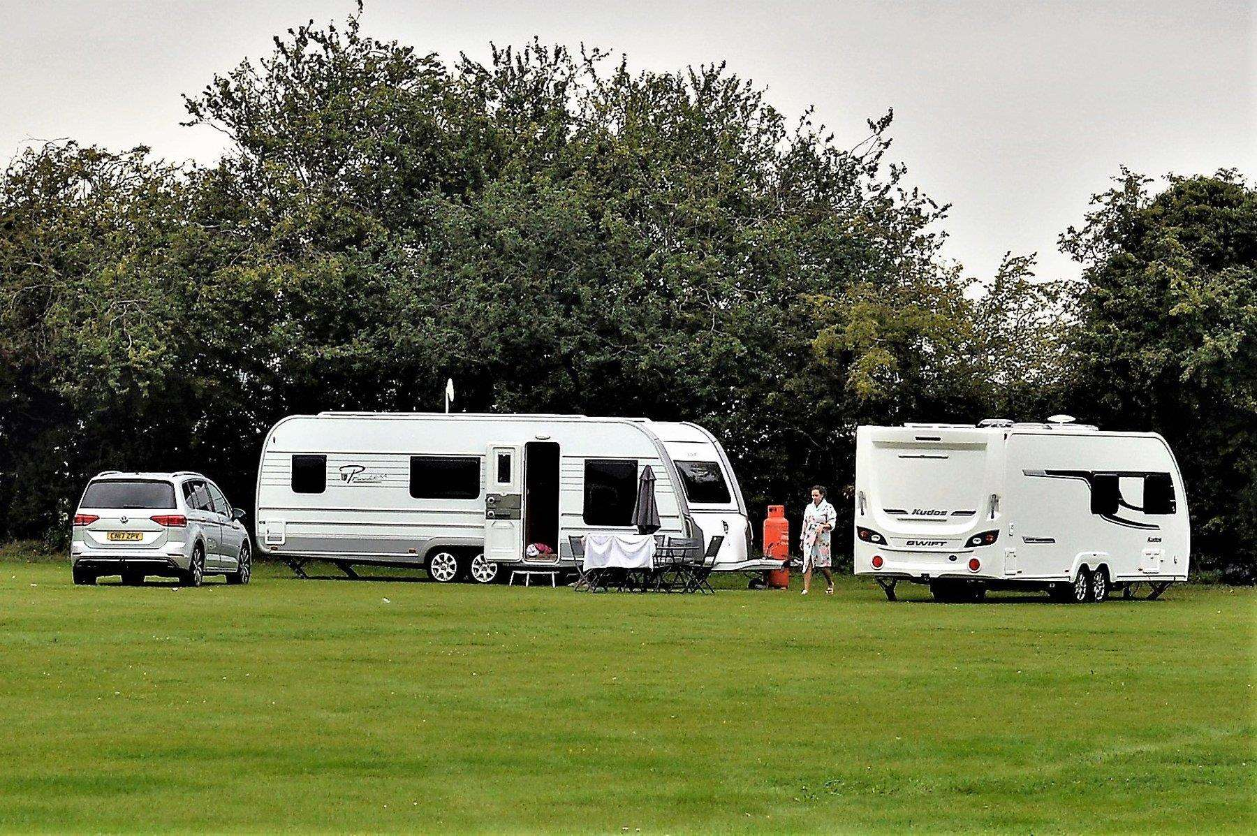 Travellers set up camp on St Felix playing field in 2017.