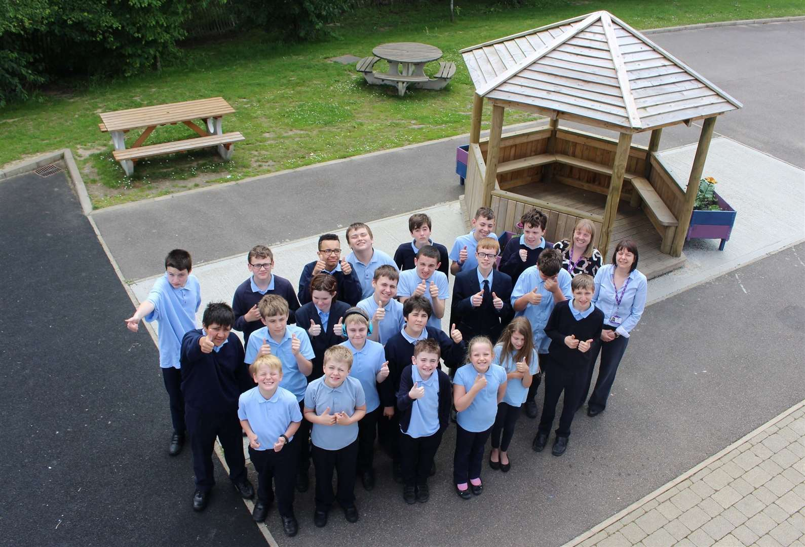 Churchill Academy students and staff celebrate their outstanding report from Ofsted. Contributed picture