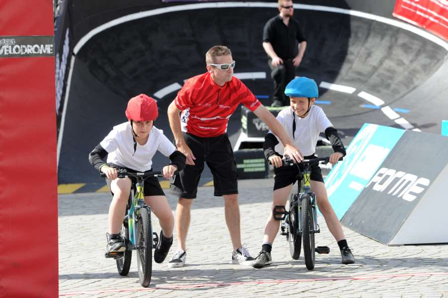 Street Velodrome in the Arc, Bury St Edmunds. Schools day''Pictured: Abbots Green Primary School ANL-160715-130431009