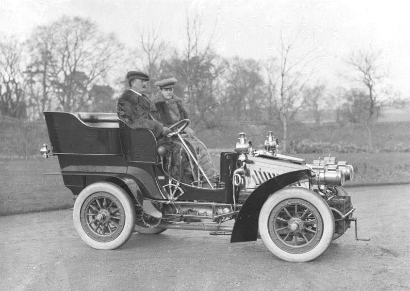 Mr & Mrs Charters and their motor car. From the Spanton Jarman collection