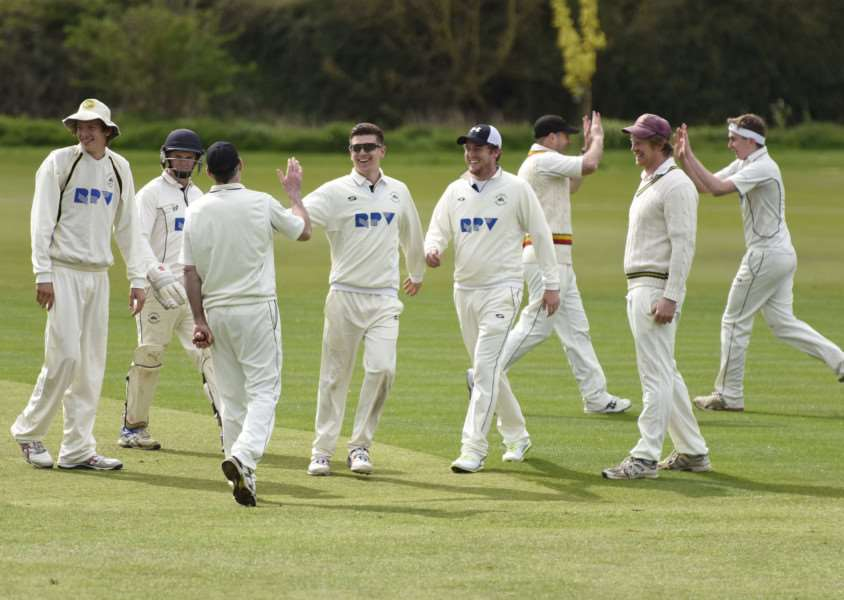 HALFWAY HOPES: Mildenhall celebrate John Allen's wicket during Saturday's friendly with Cambridge Granta