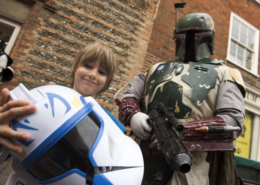 Sci Fi exhibition in Bury's Moyse's Hall, Star Wars fans march into Bury.'Theo Clements, aged 7, from Moreton Hall. 'Picture Mark Westley