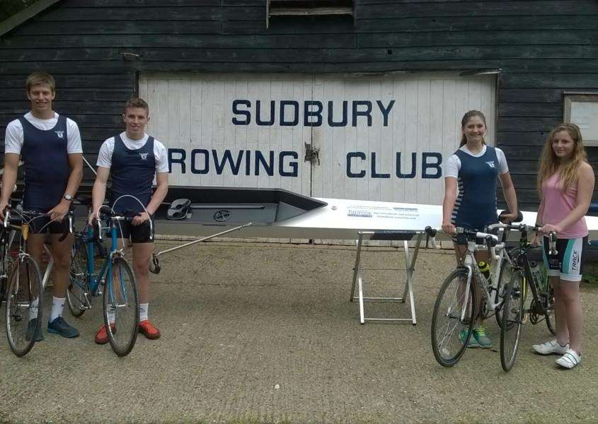CHARITY RIDE: Four teenage members of Sudbury Rowing Club cycled 600-miles to the World Rowing Championships in France in aid of charity. ANL-150825-100301001