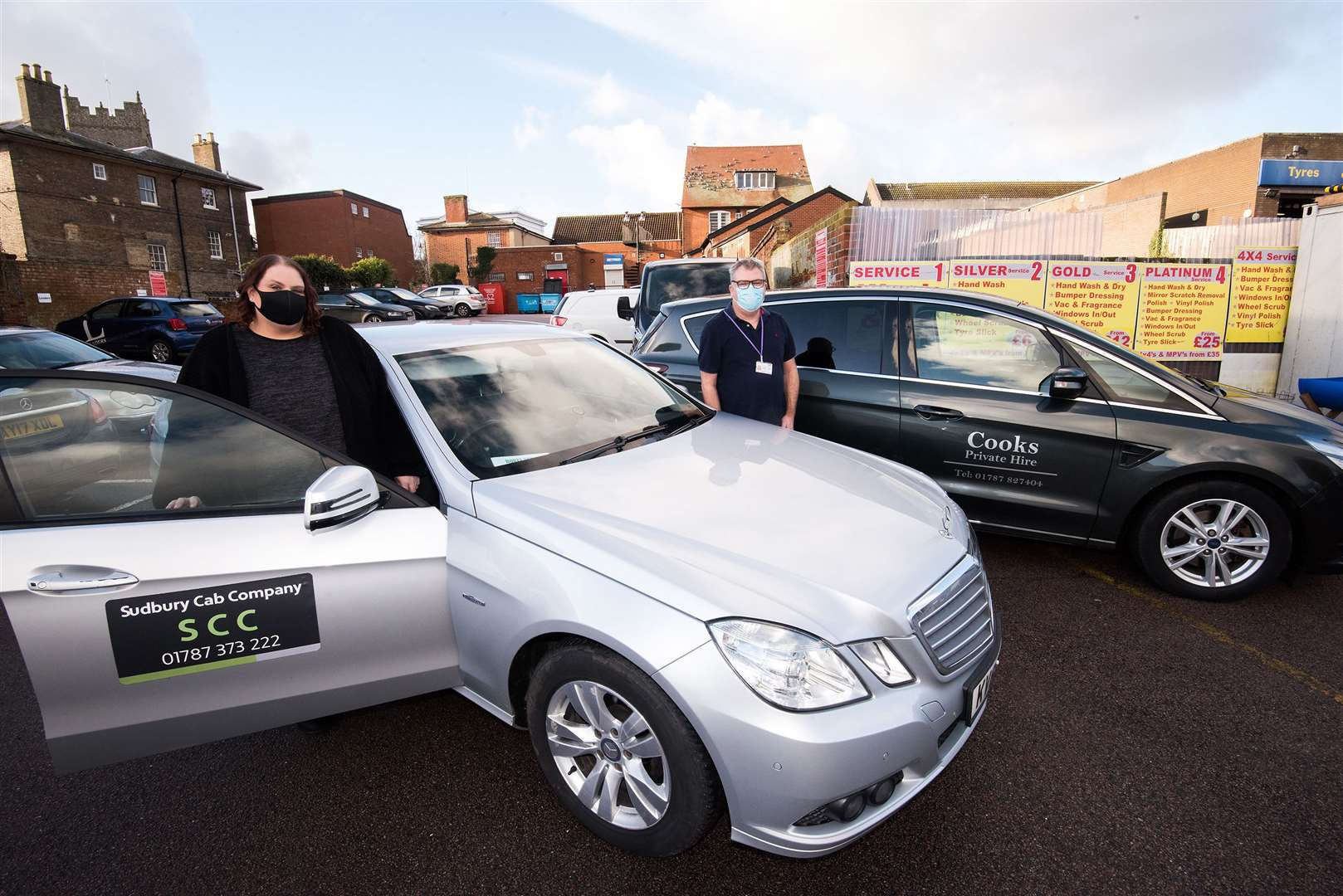 Jo Cleverley and David Cook from Cooks Private Hire. Picture by Mark Westley.
