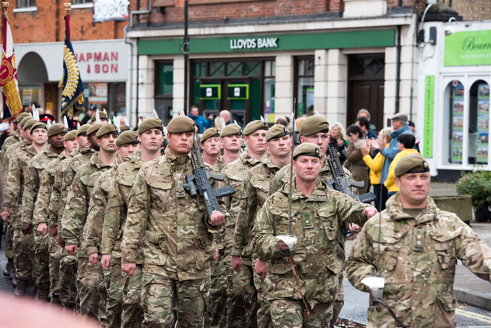 The 1st Battalion of the Royal Anglian Regiment parades along Haverhill High Street. Picture by Mark Westley.