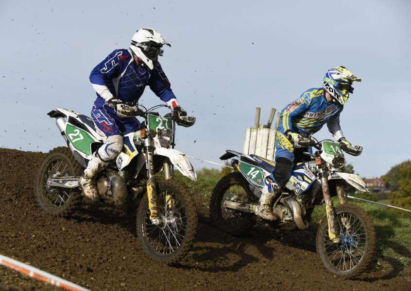 DOWNHILL: Sudbury's Gary Mays (left) and Nigel Ross in action on Sunday