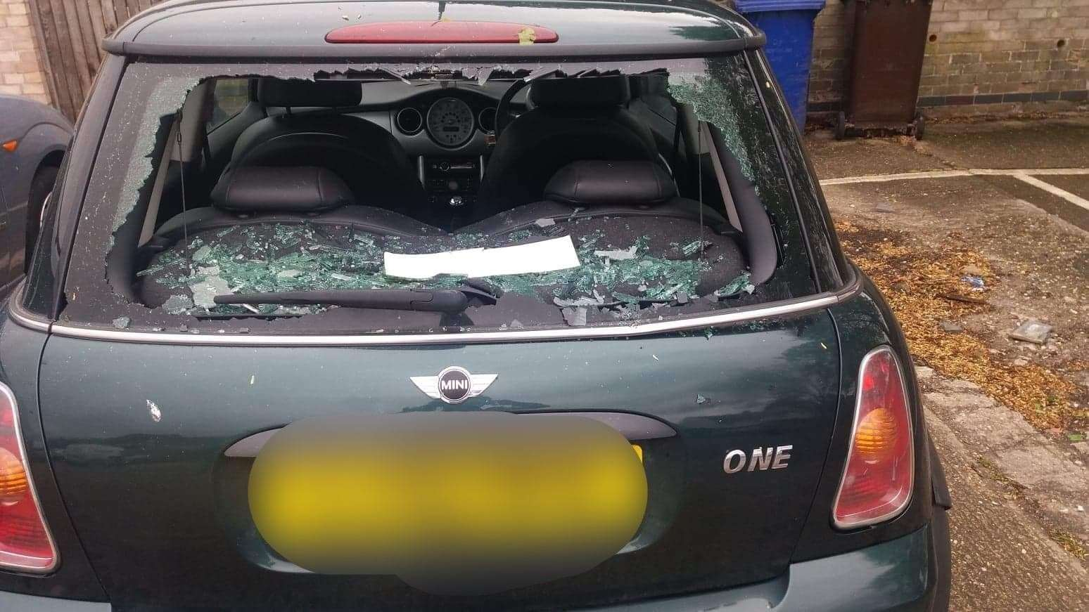 The rear window of a Mini was smashed in Beeton's Way, Bury St Edmunds, overnight on Saturday, April 27 and Sunday, April 28. Picture submitted by owner.