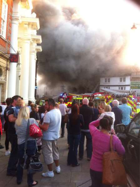The scene in Sudbury this evening as fire crews tackle the blaze. Picture courtesy of Luke Cresswell