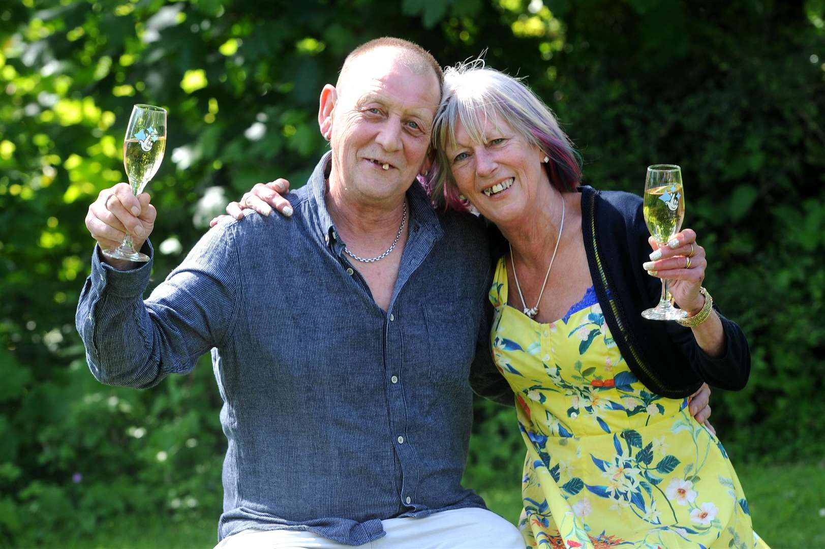 Marilyn Fairfull with husband, Matt, after they won £1 million on a scratchcard