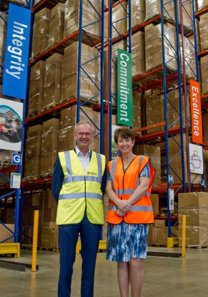 Managing director Stephen Basey-Fisher with Jo Churchill MP during her visit to Century Logistics.