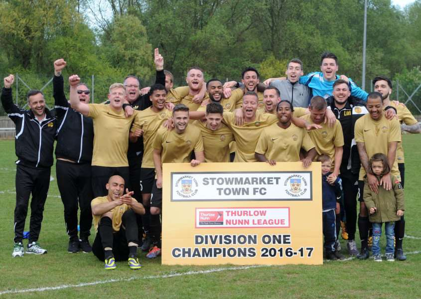 CHAMPIONS: Stowmarket Town celebrate being crowned champions of the Thurlow Nunn League First Division at the weekend