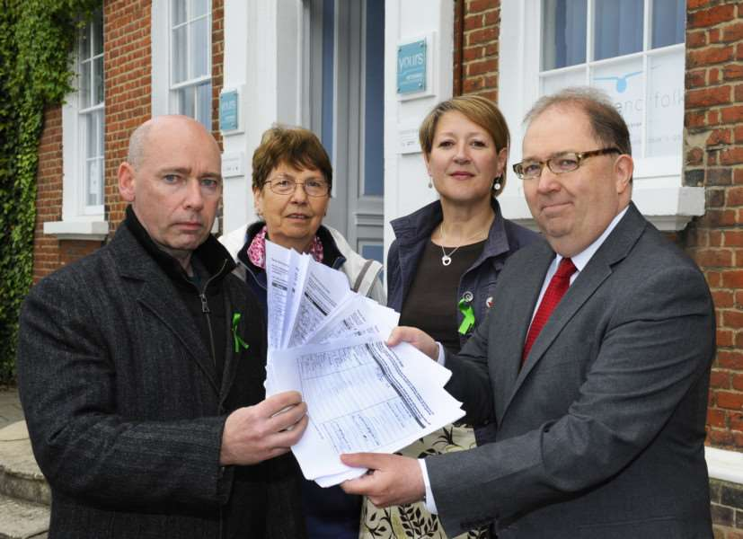 Campaigners present petition to save the Fermoy unit ahead of West Norfolk CCG meeting 'LtoR, Ed Robb, Wendy Woo, Jo Rust, Dr Ian Mack ANL-160526-115522009
