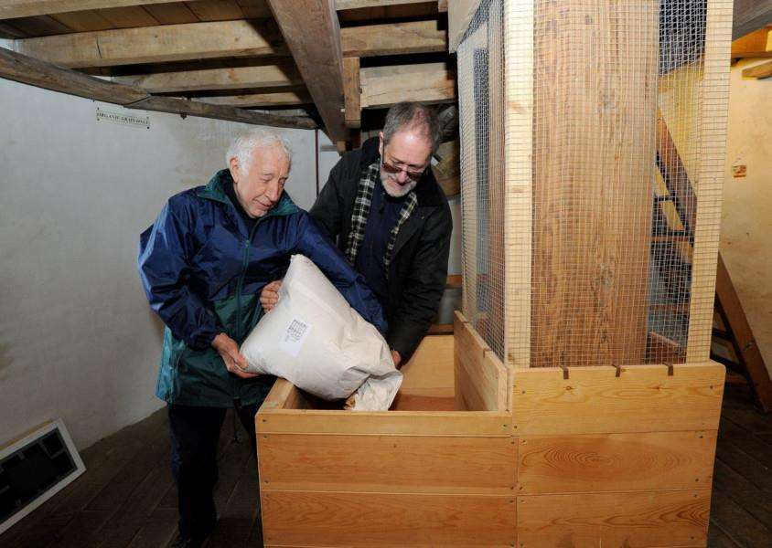 Thelnetham windmill open day''Pictured: Volunteer Chris Mulls and Mitch feeding the grain to the mill stones''PICTURE: Mecha Morton
