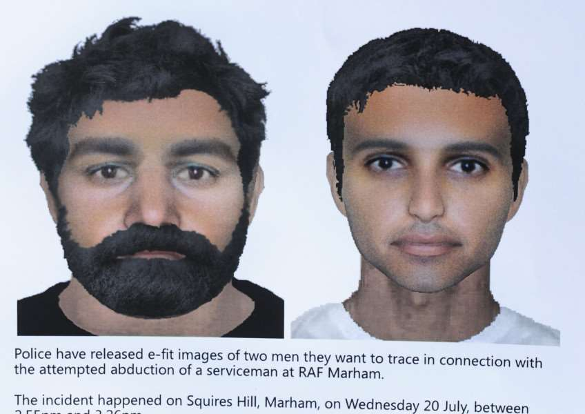 Media briefing on RAF Marham attempted abduction investigation, near to where the incident had taken place, the Police e-fit poster ANL-160727-154900009