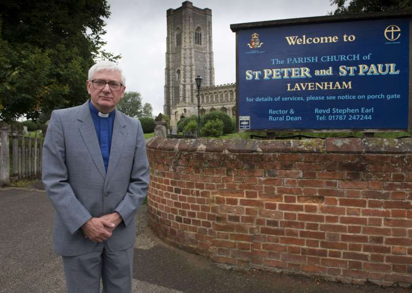 Lavenham Church St Peter and St Paul, has has lead stolen from their north roof, cleaning up water damage, Revd Stephen Earl Rector and Rural Dean. Picture Mark Westley ANL-150826-115315009