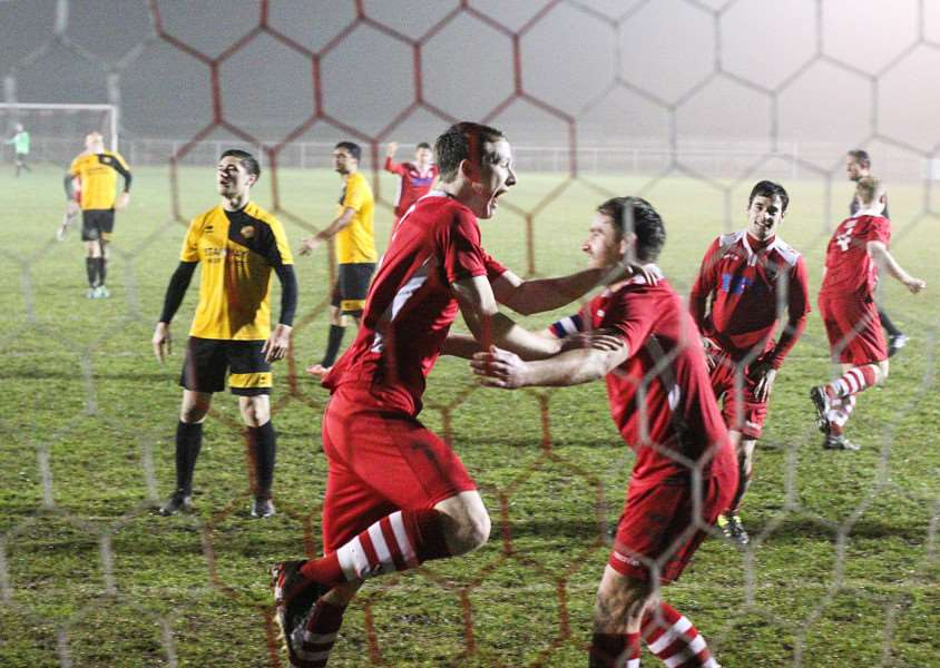 CUP DELIGHT: Rory Jebb celebrates with Sam Holmes after scoring for Haverhill Rovers in their 4-0 win against Stanway Rovers. PICTURE: Phil Chaplin