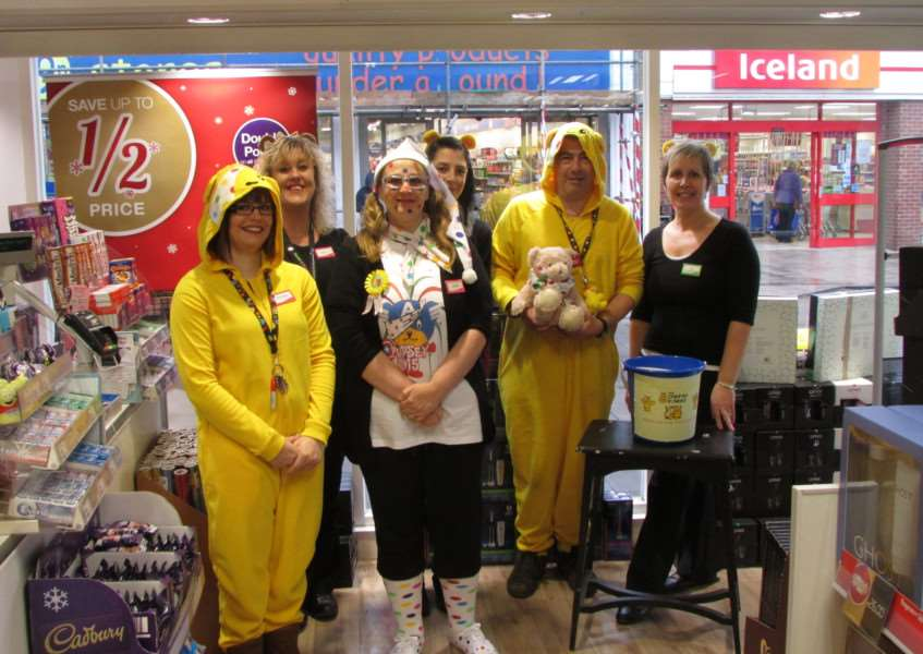 Staff at Superdrug in North Street dressed up to help raise money for Children in need. Pictured are Kelly Smithers, Amber Martin, Jodie Wright,'Jackie Jackson, Joanne Howlett and Cliff Dark. ANL-151116-105958001