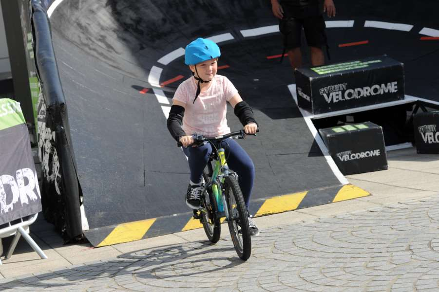 Street Velodrome in the Arc, Bury St Edmunds. Schools day''Pictured: Sexton Manor Primary School ANL-160715-130312009