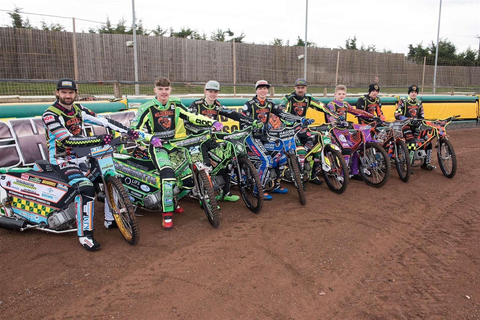 Mildenhall Fen Tigers Press and Practice Day Fen Tigers team 2019 Danny Ayres, Sam Bebee, Charlie Brooks, Jason Edwards, Dave Wallinger, Elliot Kelly, Macauley Leek and Sam Norris Picture by Mark Westley. (8750672)