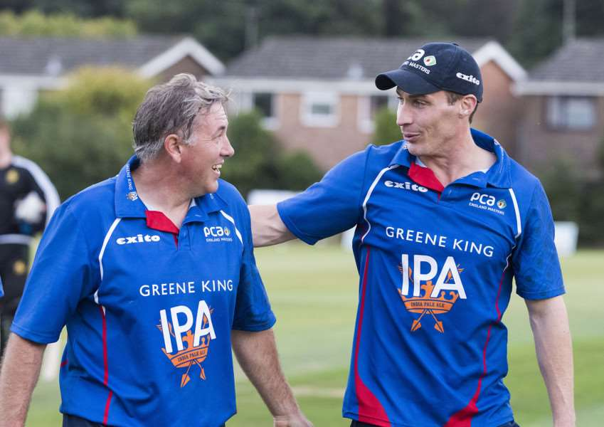 BIG IMPRESSION: Ex-England bowler Simon Jones (right) liked what he saw from the Bury and Worlington team