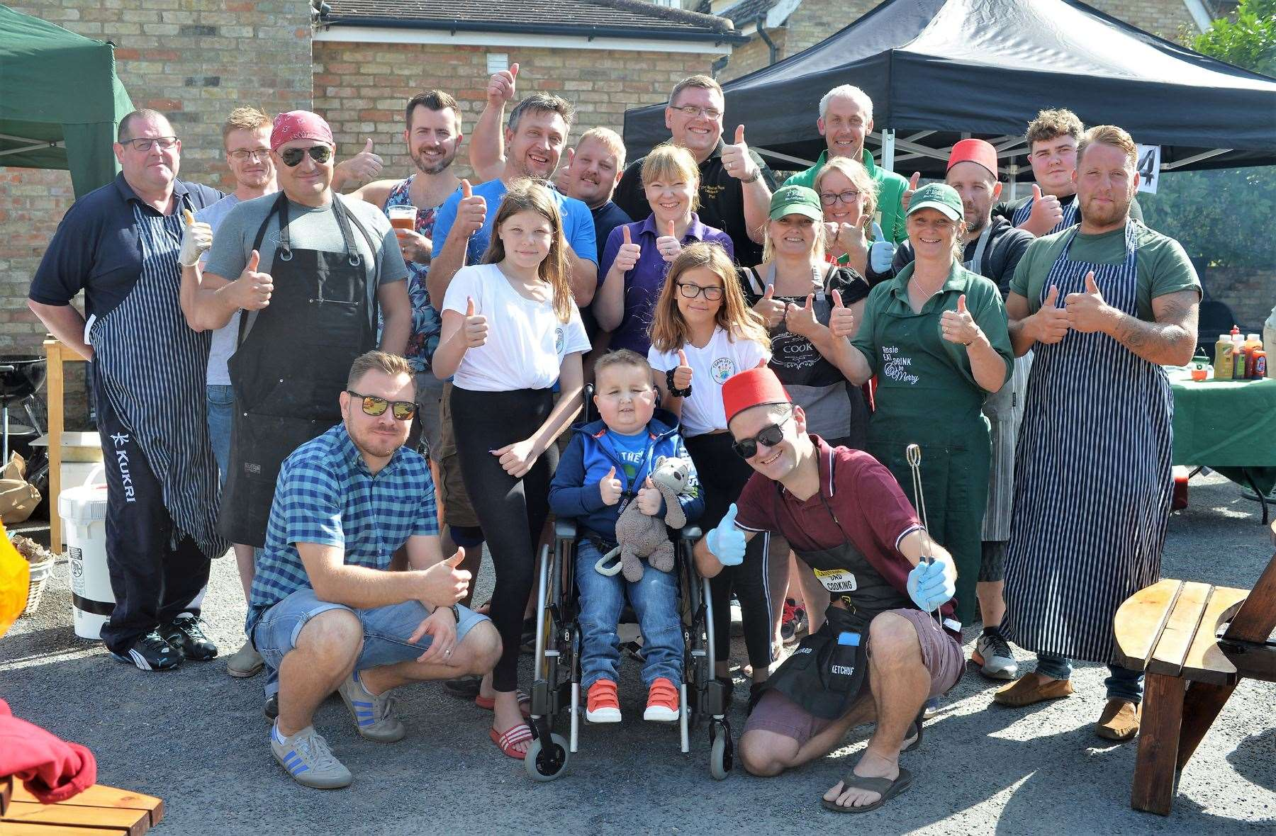 Jay Davison pictured in August last year with his family, supporters and wellwishers at Isleham's Rising Sun pub