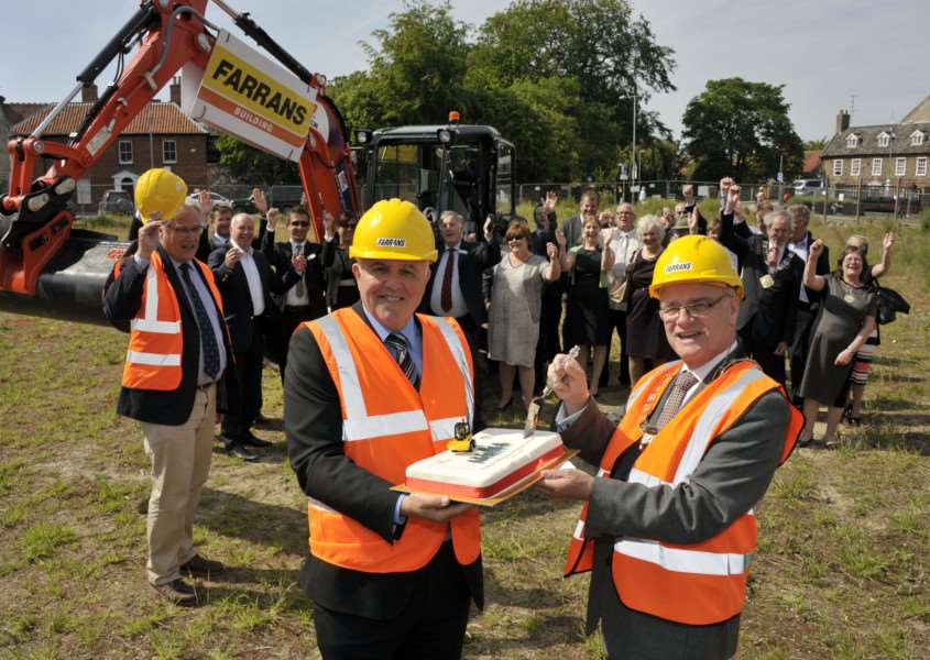 A groundbreaking ceremony has marked the official start of construction on Thetford's multi-million pound Riverside regeneration project ANL-151206-102734001