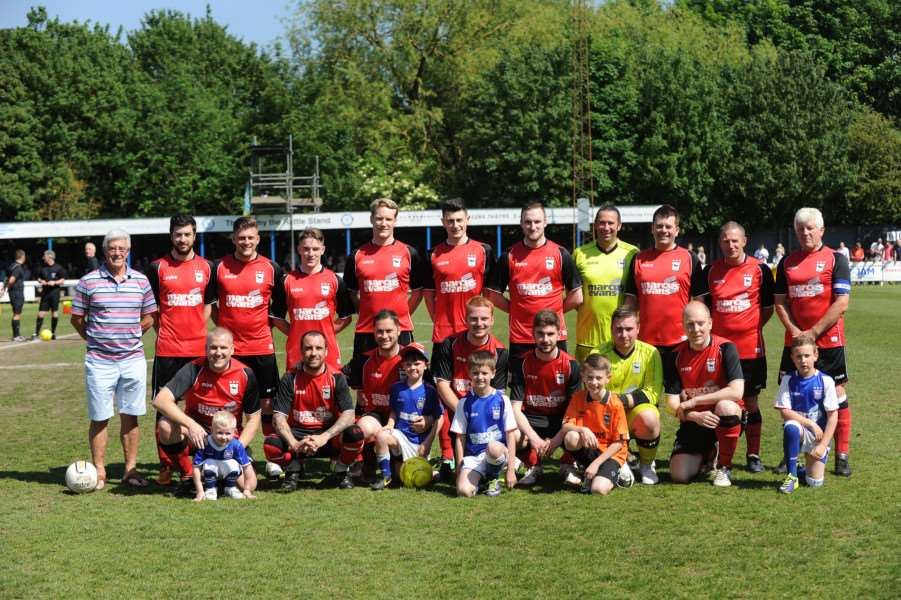 DAY TO REMEMBER: The fans' hospital team, managed by ex-Ipswich Town player Bryan Hamilton (far left) who took part in the 2014 event at Ram Meadow