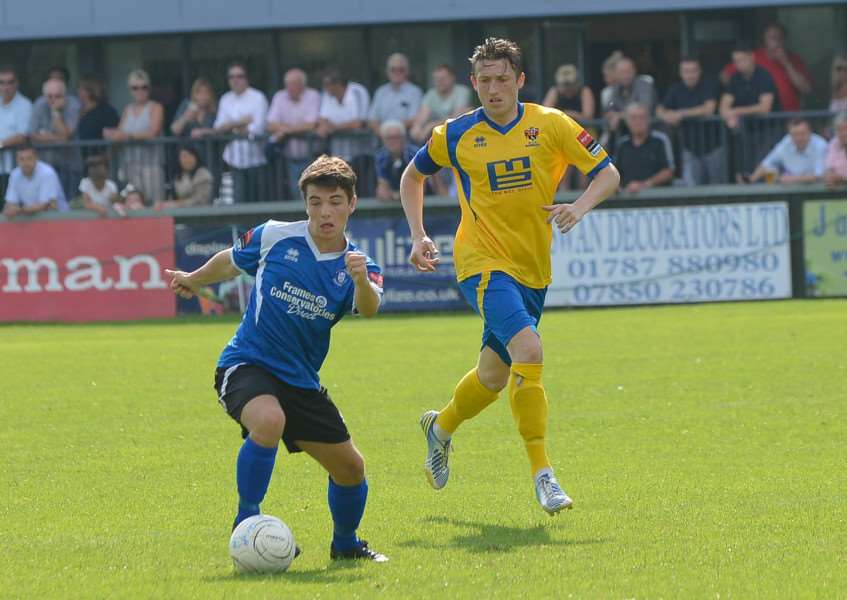 NEW FACE: Tanner Call - pictured playing for Bury Town - is joining Thetford