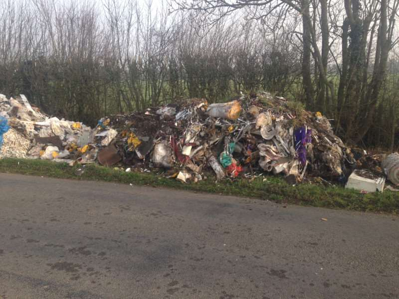 Police are appealing for information after 30 to 40 tonnes of industrial waste were left on a road in Walsham-le-Willows on Thursday (April 9) ANL-150413-091305001