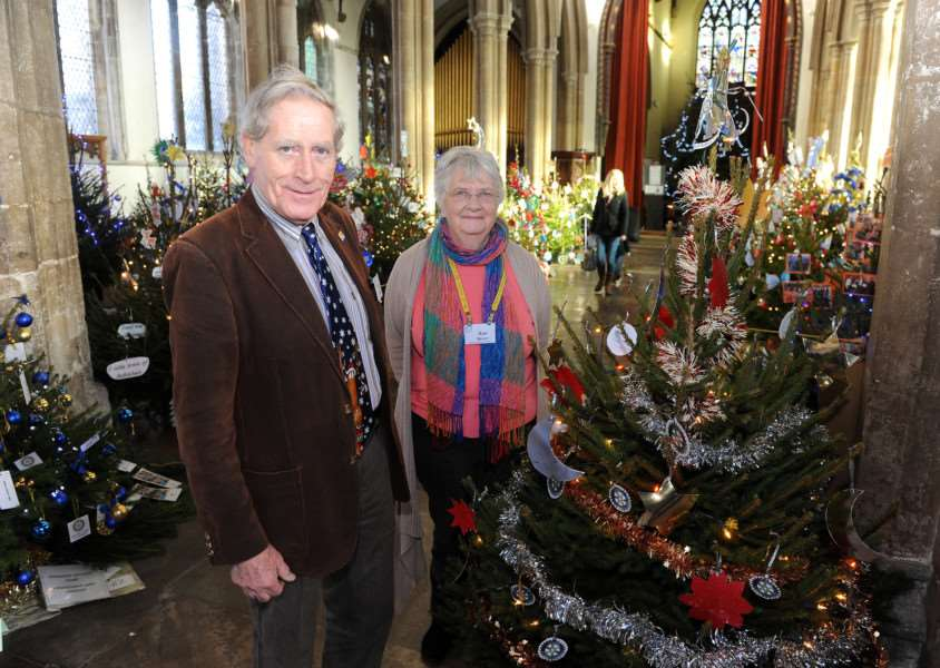 St Peter's Christmas Tree Festival 2014. Pictured: Rod Donnelly (Sudbury Rotary Club) and Sue Bevel (talbot Rotary Club) ANL-141012-144546009