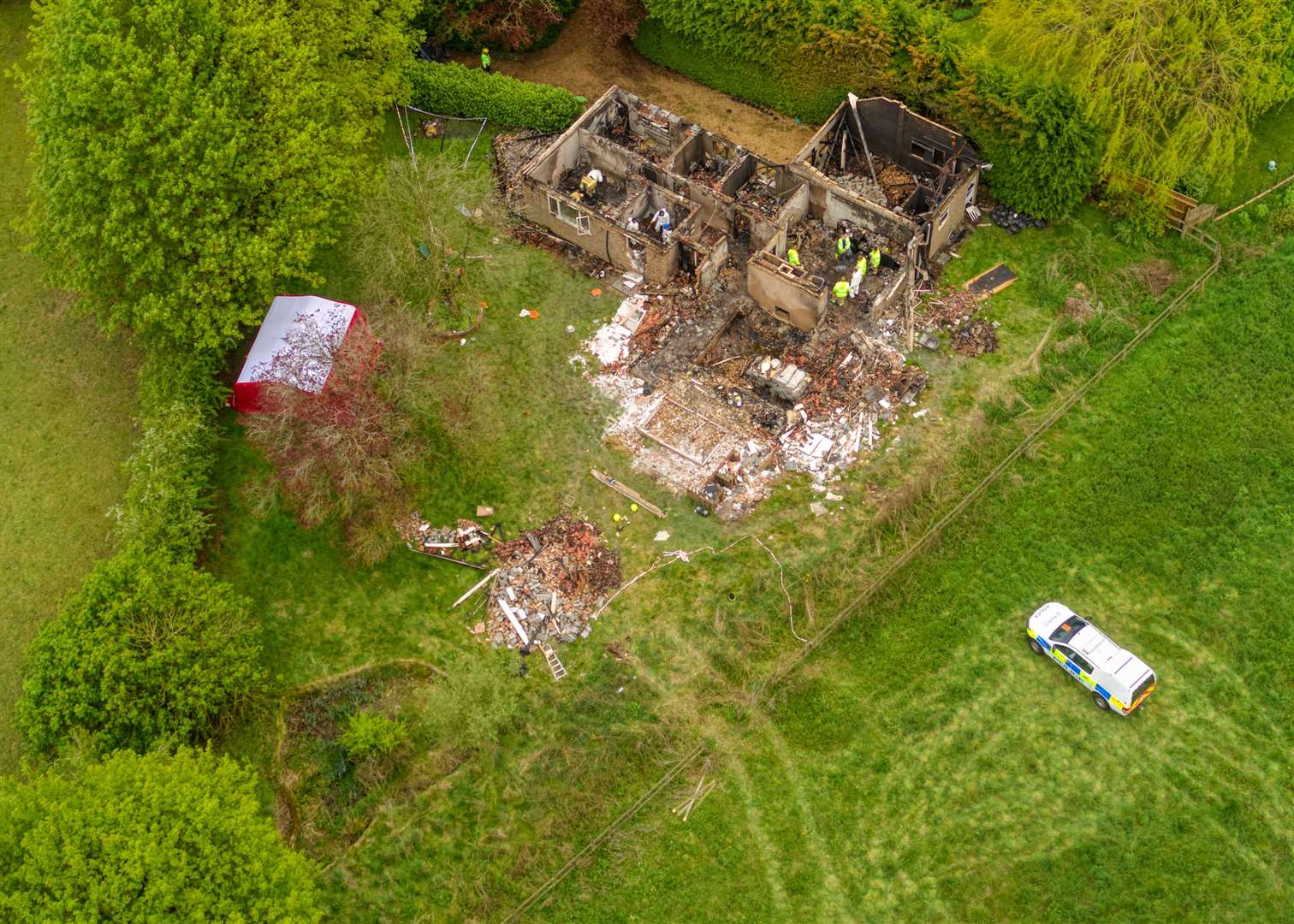 A drone shot of the secluded bungalow in Lidgate after the blast in May (Picture: Phil Fuller)