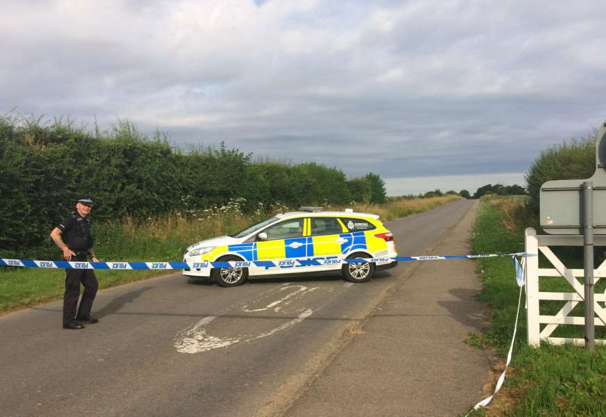 Police seal off a section of Ladywood Road close to RAF Marham. Photo by Sam Russell/PA Wire