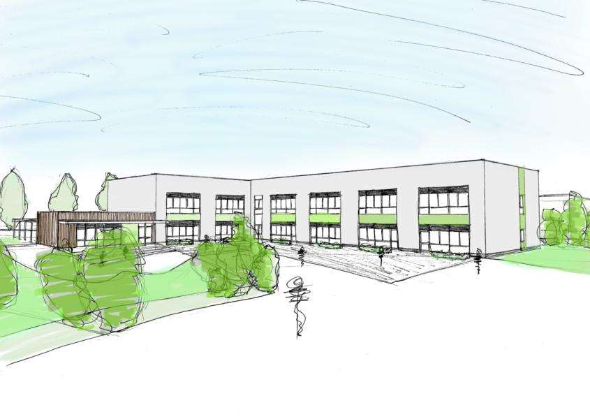 An artist's impression of how The Pines Primary School will look once complete