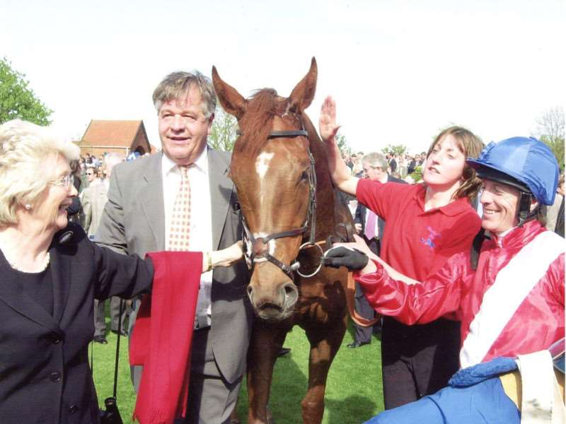 Celebrating with Sir Michael Stoute and owner Patricia Thompson after Russian Rhythm's 1000 Guineas in 2003