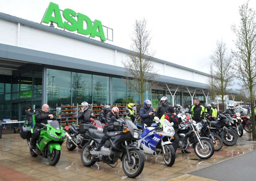 Bury & District MAG (motorcycle action group) held its annual Mad Cow Easter Egg Run today for the children at disability charity Scope in Shakers Lane. ''Pictured: They stopped off at ASDA to pick up the easter eggs ANL-150329-203044009